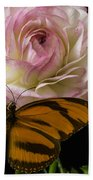 Ranunculus And Butterfly Bath Towel