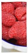 Raspberries In Polish Pottery Bowl Bath Towel