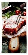 Raw Beef Steak And Wine Bath Towel