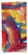 Red Abstract Painting Bath Towel
