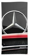 Red Mercedes - Front Grill Ornament And 3 D Badge On Black Hand Towel