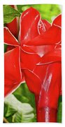 Red Tropical Flower In Huntington Botanical Gardens In San Marino-california Bath Towel