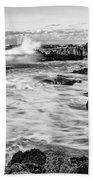 Rocky Asilomar Beach In Monterey Bay At Sunset. Bath Towel