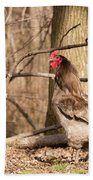 Rooster In The Woods Bath Towel