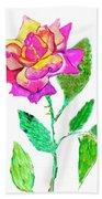 Rose, Watercolor Painting Bath Towel