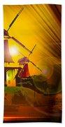 Sailing Romance Windmills Bath Towel