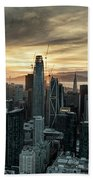 San Francisco City Skyline At Sunset Aerial Hand Towel