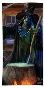 Scary Old Witch With A Cauldron Bath Towel
