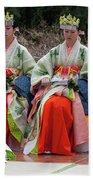 Shrine Maidens From Tsurugaoka Hachimangu Shrine Bath Towel