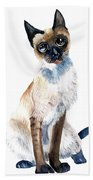 Siamese Cat Painting Hand Towel