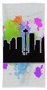 Seattle Skyline Silhouette Bath Towel