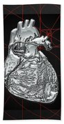 Silver Human Heart On Black Canvas Bath Towel