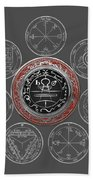 Silver Seal Of Solomon Over Seven Pentacles Of Saturn On Black Canvas  Bath Towel