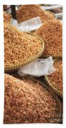 Small Asian Dried Shrimp In Kep Market Cambodia Bath Towel