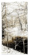 Snow-covered Stream Banks, Pennsylvania Bath Towel