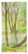 Spring Landscape, Painting Bath Towel