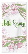 Spring  Wreath With Pink White Tulips Bath Towel