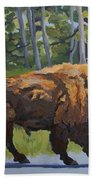 Strutting Along, Yellowstone Hand Towel by Erin Fickert-Rowland