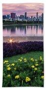 summer flowers and Chicago skyline Bath Towel