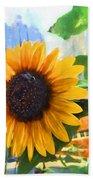 Sunflower In The City Bath Towel
