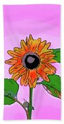 Illustration Of A Sunflower On A Pink Background Bath Towel