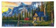 Sunset At Log Cabin Bath Towel