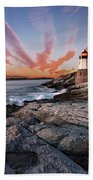 Sunset, Castle Hill Lighthouse  Bath Towel