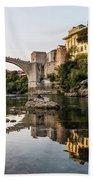 Sunset Over The Famous Mostar Bridge Bath Towel