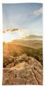 Sunset Over The Mountains Of Flaggstaff Road In Boulder, Colorad Bath Towel
