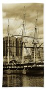 Tall Ship In Baltimore Harbor Bath Towel