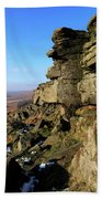The Gritstone Rock Formations On Stanage Edge Bath Towel