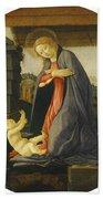 The Virgin Adoring The Child Bath Towel