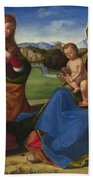 The Virgin And Child Adored By Two Angels Bath Towel