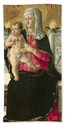 The Virgin And Child Enthroned Bath Towel