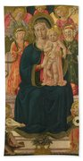 The Virgin And Child Enthroned With Angels Bath Towel