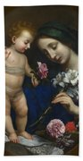 The Virgin And Child With Flowers Bath Towel