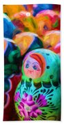 Family Of Mother Russia Matryoshka Dolls Oil Painting Photograph Bath Towel