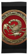 Treasure Trove - Sacred Golden Scorpion On Black Bath Towel