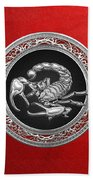 Treasure Trove - Sacred Silver Scorpion On Red Bath Towel