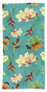 Tropical Island Floral Half Drop Pattern Bath Towel