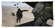 U.s. Airmen Jump From A C-130 Hercules Bath Towel