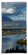View Of Lake Bled From Ojstrica Bath Towel