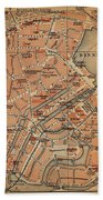 Vintage Map Of Hamburg Germany - 1910 Bath Towel