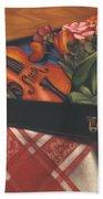Violin Case And Flowers Bath Towel
