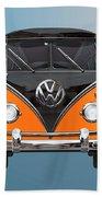 Volkswagen Type 2 - Black And Orange Volkswagen T 1 Samba Bus Over Blue Hand Towel