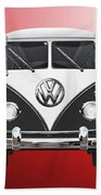 Volkswagen Type 2 - Black And White Volkswagen T 1 Samba Bus On Red  Bath Towel
