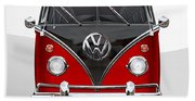 Volkswagen Type 2 - Red And Black Volkswagen T 1 Samba Bus On White  Bath Towel