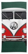 Volkswagen Type 2 - Red And White Volkswagen T 1 Samba Bus Over Green Canvas  Hand Towel