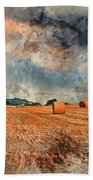 Watercolour Painting Of Beautiful Golden Hour Hay Bales Sunset L Bath Towel