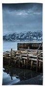 Wharf In Norris Point, Newfoundland Bath Towel